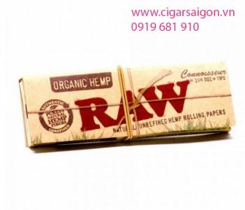 Giấy cuốn thuốc lá Raw Organic Hemp 1 1/4 Size + Tips-1
